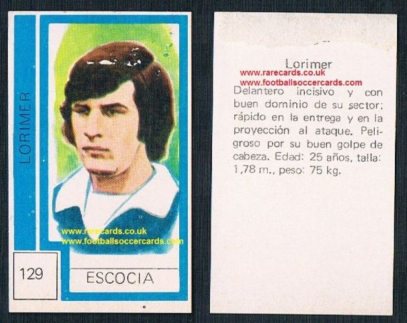 1974 Scotland World Cup Peter Lorimer - from Chile! - Leeds United